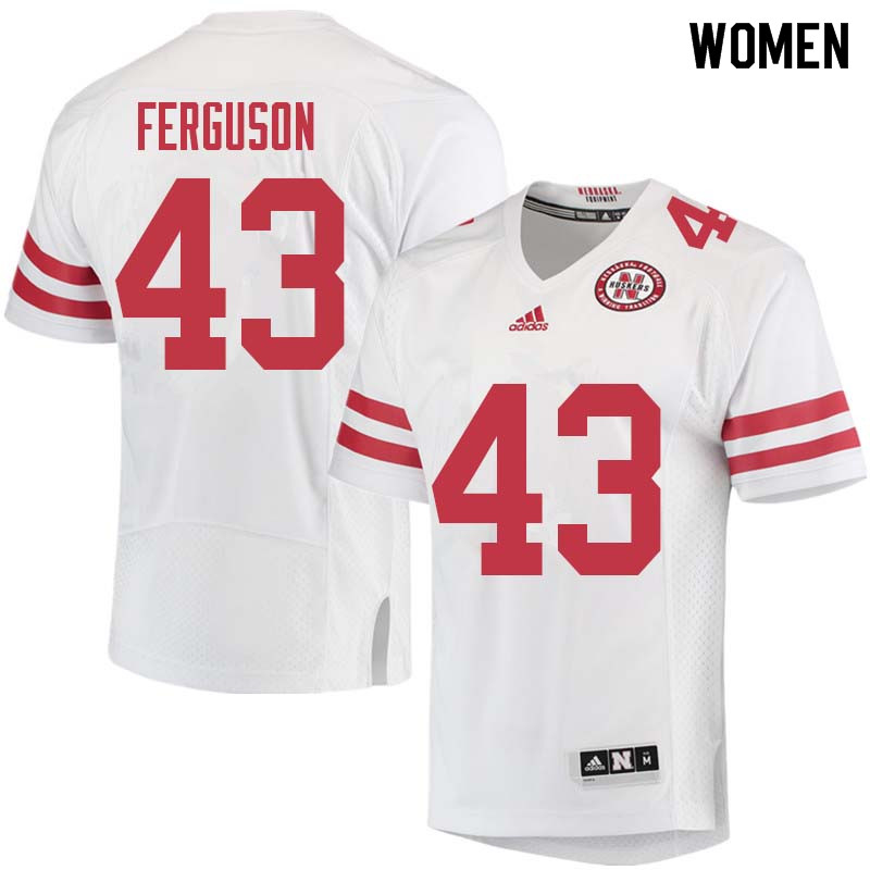Women #43 Tyrin Ferguson Nebraska Cornhuskers College Football Jerseys Sale-White