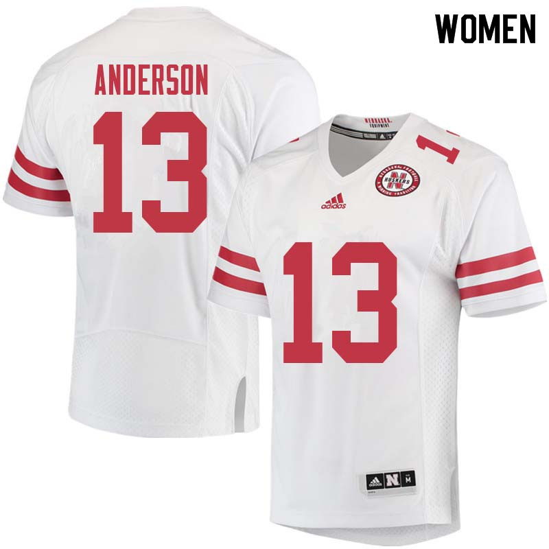 Women #13 Zaire Anderson Nebraska Cornhuskers College Football Jerseys Sale-White