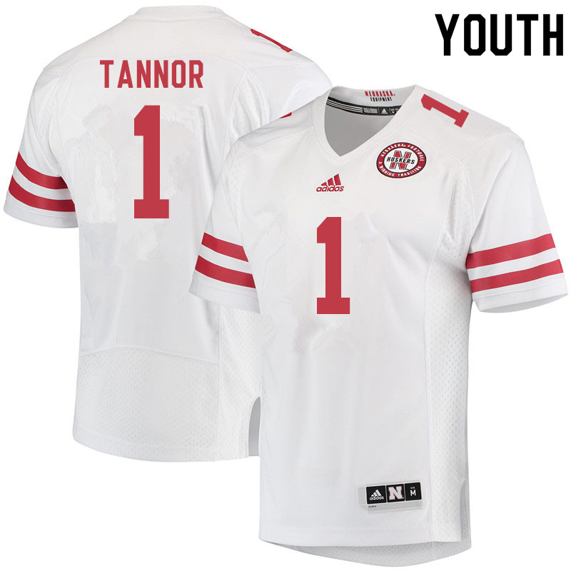 Youth #1 Caleb Tannor Nebraska Cornhuskers College Football Jerseys Sale-White