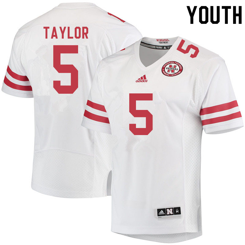 Youth #5 Cam Taylor Nebraska Cornhuskers College Football Jerseys Sale-White
