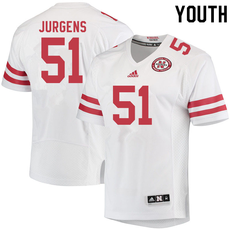 Youth #51 Cameron Jurgens Nebraska Cornhuskers College Football Jerseys Sale-White