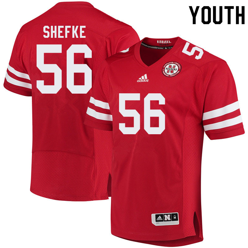 Youth #56 Collin Shefke Nebraska Cornhuskers College Football Jerseys Sale-Red