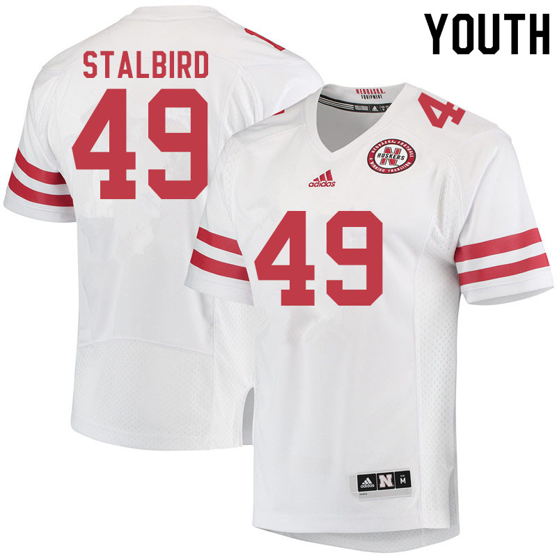Youth #49 Isaiah Stalbird Nebraska Cornhuskers College Football Jerseys Sale-White