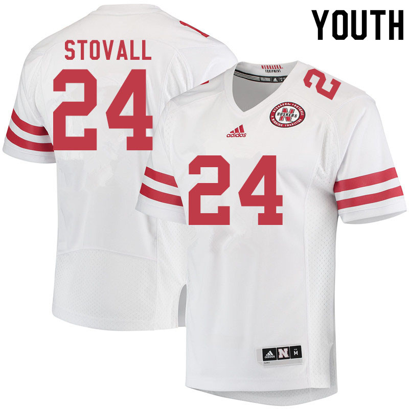 Youth #24 Jeramiah Stovall Nebraska Cornhuskers College Football Jerseys Sale-White