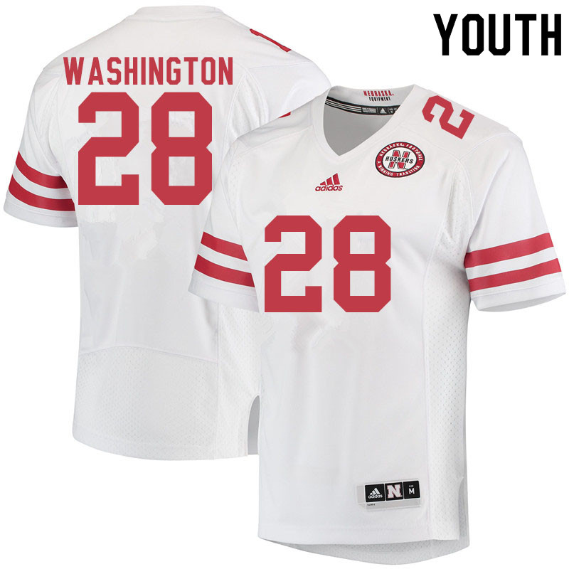 Youth #28 Maurice Washington Nebraska Cornhuskers College Football Jerseys Sale-White