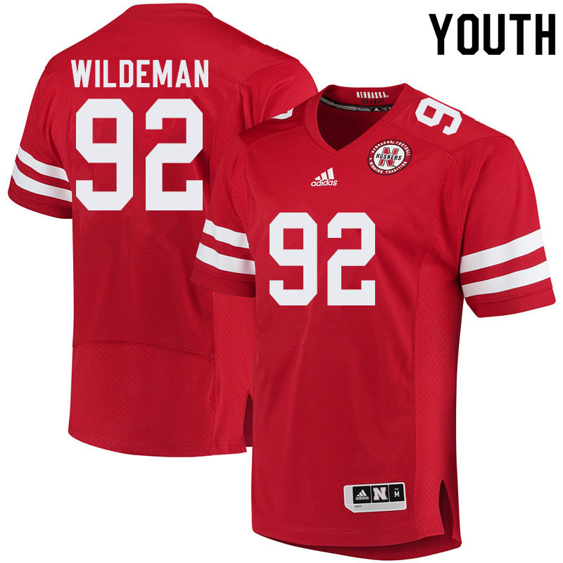 Youth #92 Tate Wildeman Nebraska Cornhuskers College Football Jerseys Sale-Red