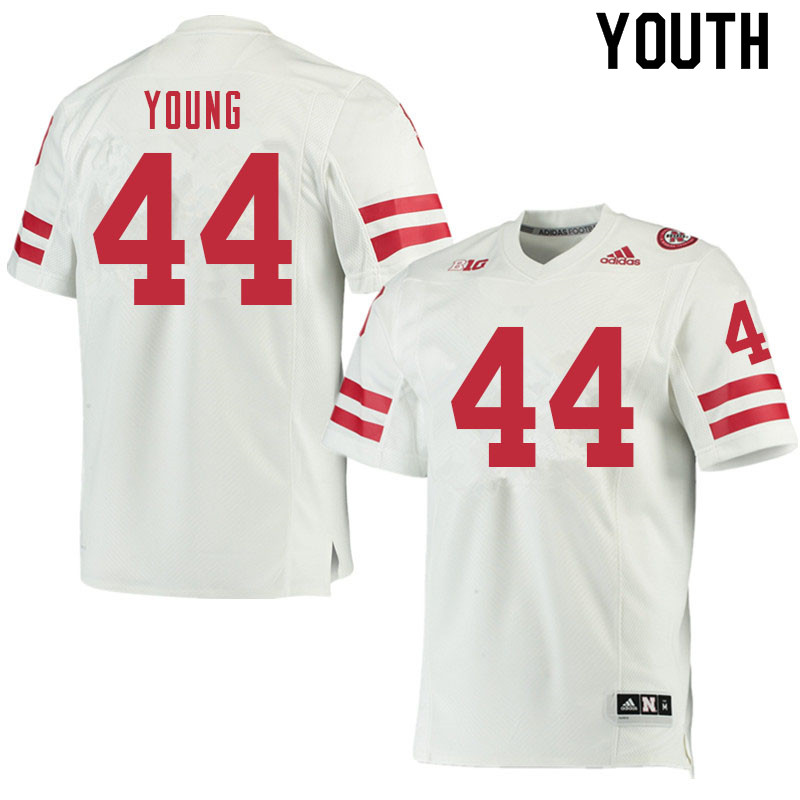 Youth #44 Aiden Young Nebraska Cornhuskers College Football Jerseys Sale-White