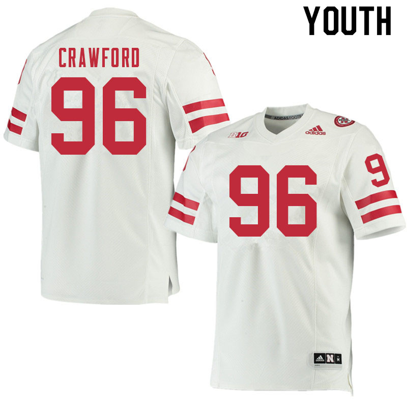 Youth #96 Tyler Crawford Nebraska Cornhuskers College Football Jerseys Sale-White