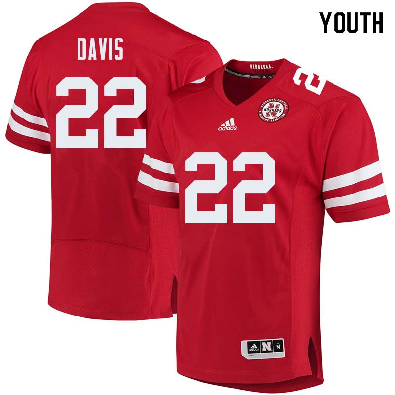 Youth #22 Alex Davis Nebraska Cornhuskers College Football Jerseys Sale-Red