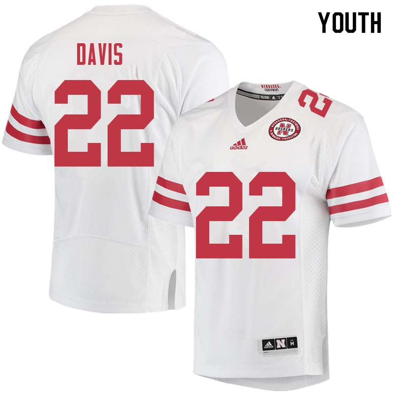 Youth #22 Alex Davis Nebraska Cornhuskers College Football Jerseys Sale-White