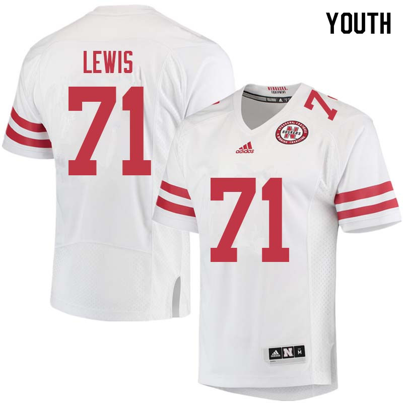 Youth #71 Alex Lewis Nebraska Cornhuskers College Football Jerseys Sale-White