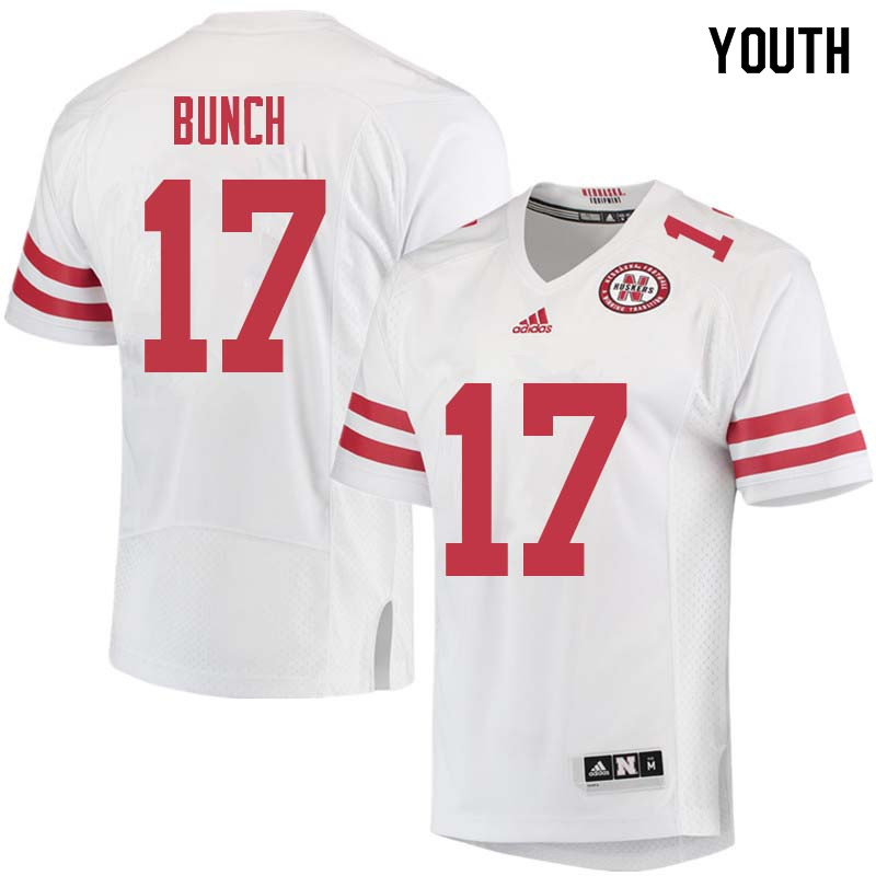 Youth #17 Andrew Bunch Nebraska Cornhuskers College Football Jerseys Sale-White