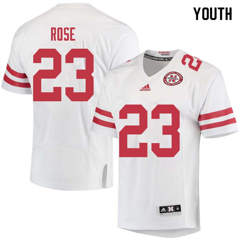 Youth #23 Austin Rose Nebraska Cornhuskers College Football Jerseys Sale-White