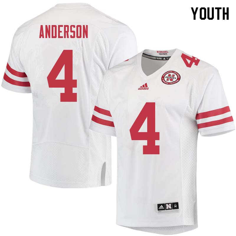 Youth #4 Avery Anderson Nebraska Cornhuskers College Football Jerseys Sale-White