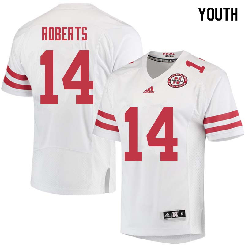 Youth #14 Avery Roberts Nebraska Cornhuskers College Football Jerseys Sale-White