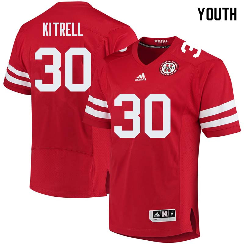 Youth #30 Bo Kitrell Nebraska Cornhuskers College Football Jerseys Sale-Red