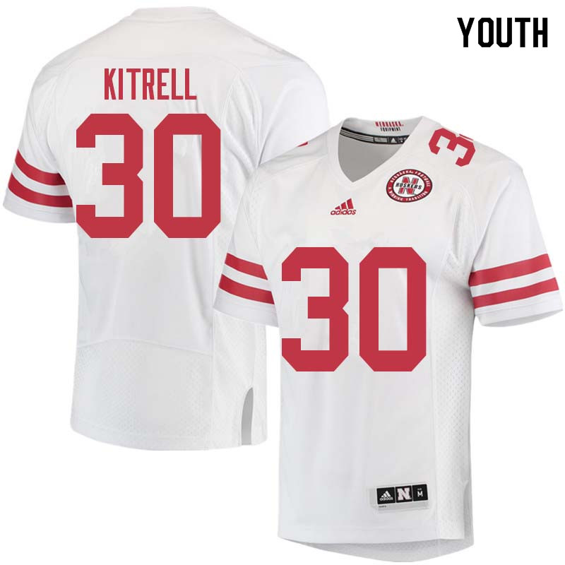 Youth #30 Bo Kitrell Nebraska Cornhuskers College Football Jerseys Sale-White