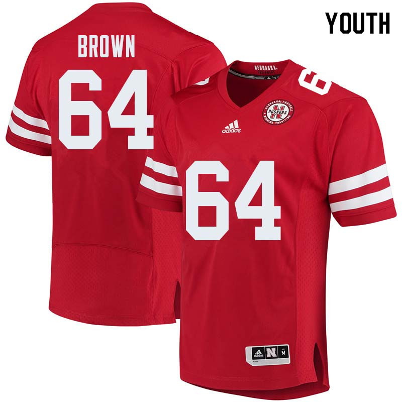 Youth #64 Bob Brown Nebraska Cornhuskers College Football Jerseys Sale-Red