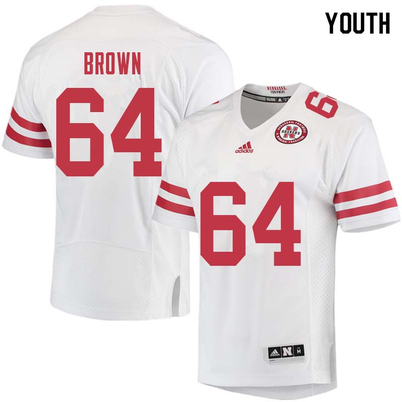 Youth #64 Bob Brown Nebraska Cornhuskers College Football Jerseys Sale-White