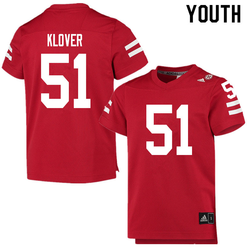Youth #51 Braden Klover Nebraska Cornhuskers College Football Jerseys Sale-Scarlet