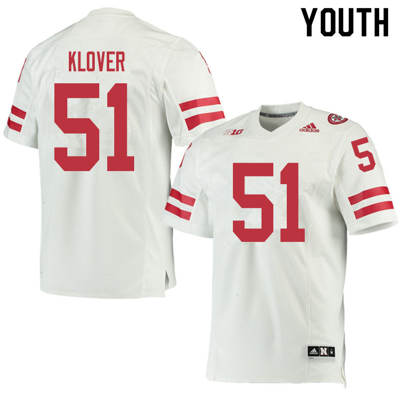 Youth #51 Braden Klover Nebraska Cornhuskers College Football Jerseys Sale-White