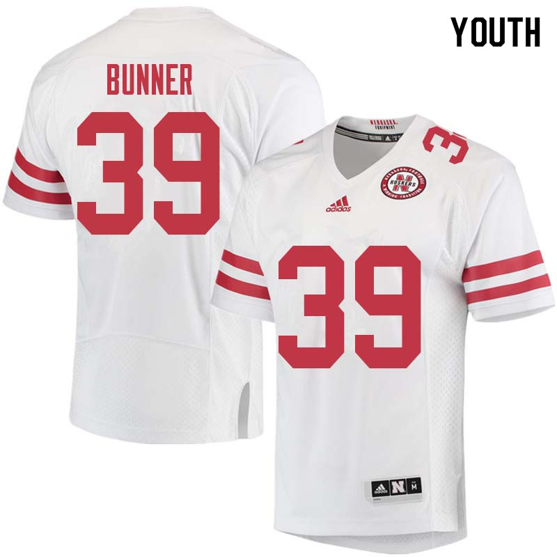 Youth #39 Bradley Bunner Nebraska Cornhuskers College Football Jerseys Sale-White