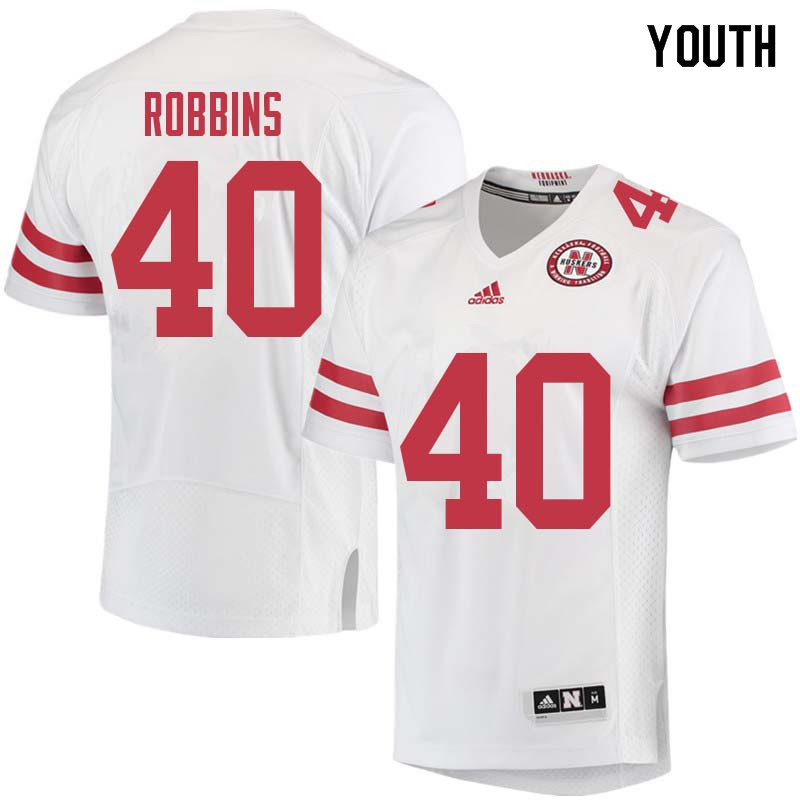 Youth #40 Brandon Robbins Nebraska Cornhuskers College Football Jerseys Sale-White
