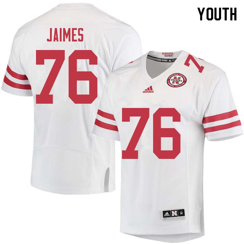 Youth #76 Brenden Jaimes Nebraska Cornhuskers College Football Jerseys Sale-White
