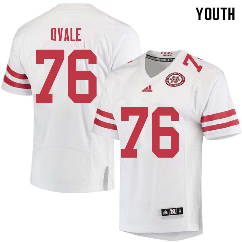 Youth #76 Brent Qvale Nebraska Cornhuskers College Football Jerseys Sale-White
