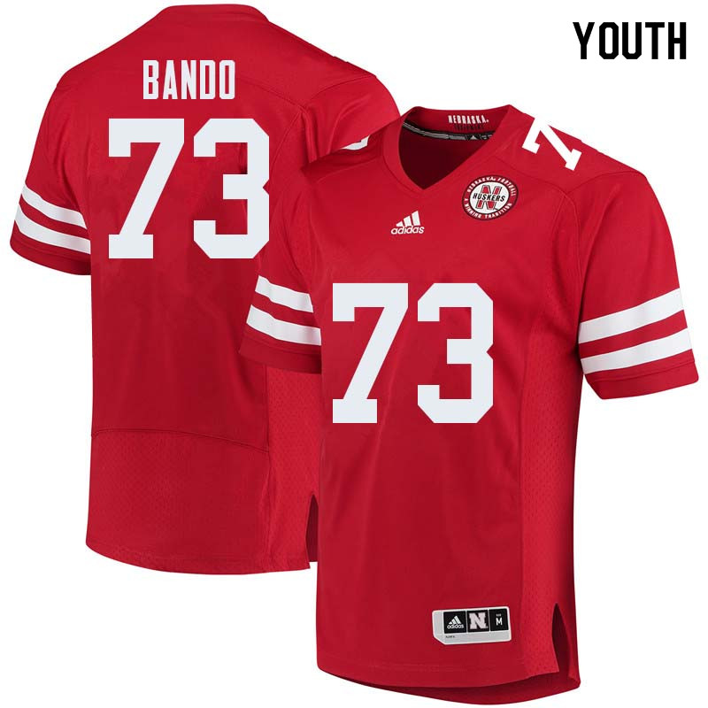 Youth #73 Broc Bando Nebraska Cornhuskers College Football Jerseys Sale-Red