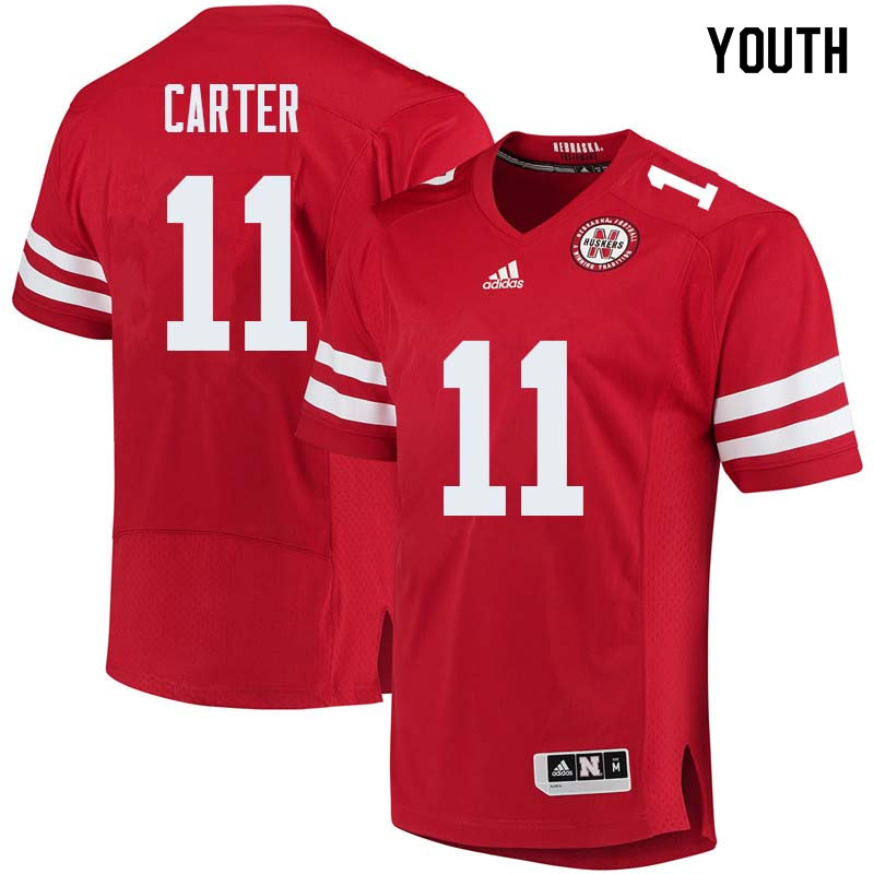 Youth #11 Cethan Carter Nebraska Cornhuskers College Football Jerseys Sale-Red