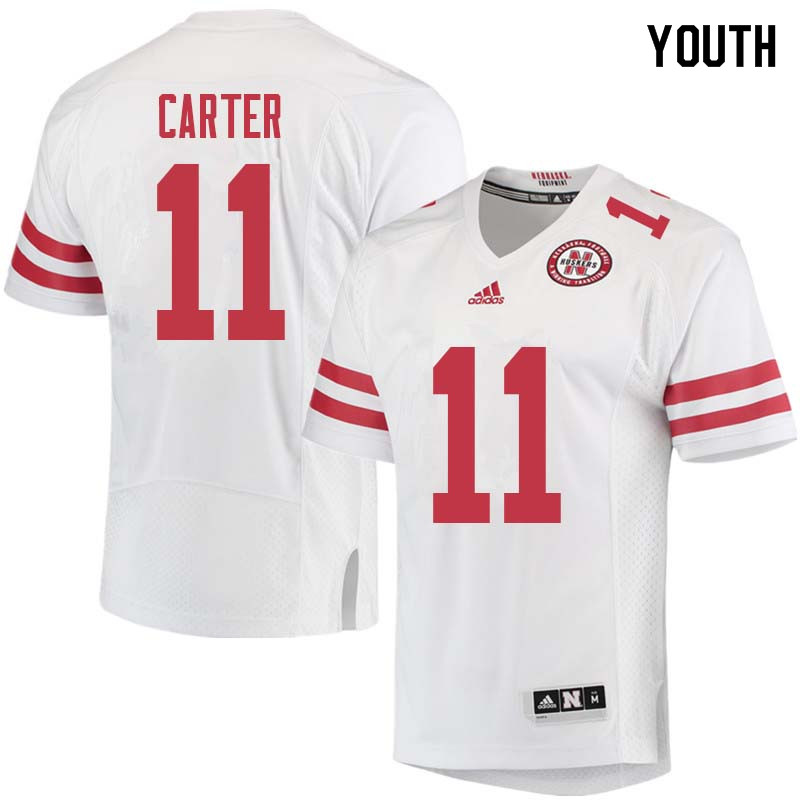 Youth #11 Cethan Carter Nebraska Cornhuskers College Football Jerseys Sale-White