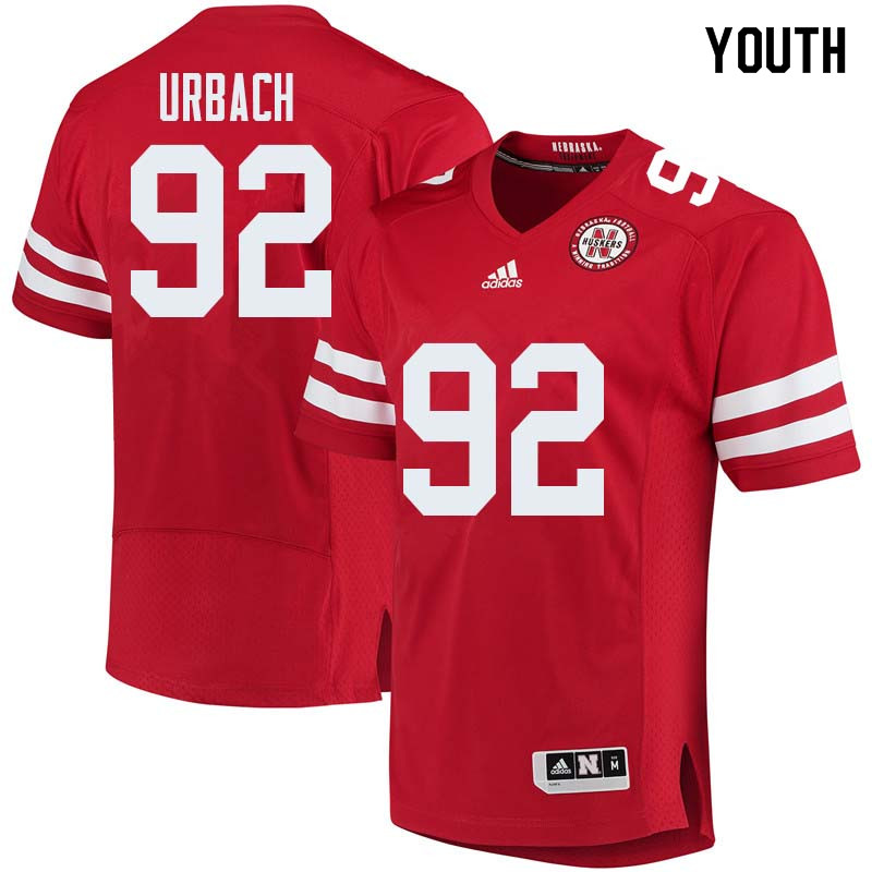 Youth #92 Chase Urbach Nebraska Cornhuskers College Football Jerseys Sale-Red