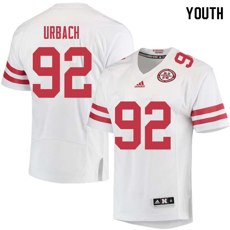 Youth #92 Chase Urbach Nebraska Cornhuskers College Football Jerseys Sale-White