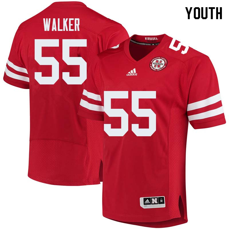Youth #55 Chris Walker Nebraska Cornhuskers College Football Jerseys Sale-Red