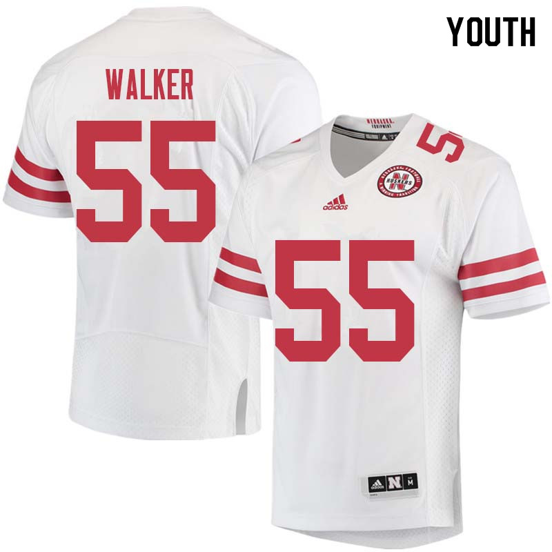 Youth #55 Chris Walker Nebraska Cornhuskers College Football Jerseys Sale-White