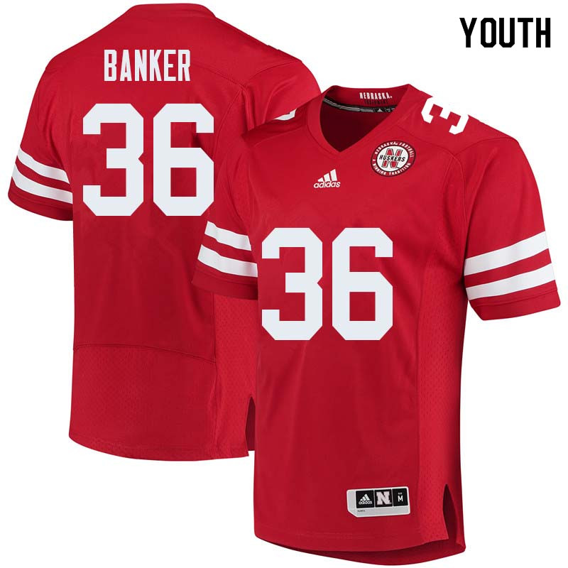 Youth #36 Christian Banker Nebraska Cornhuskers College Football Jerseys Sale-Red