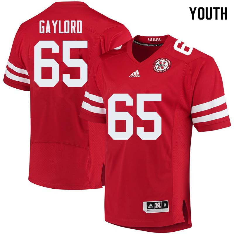 Youth #65 Christian Gaylord Nebraska Cornhuskers College Football Jerseys Sale-Red