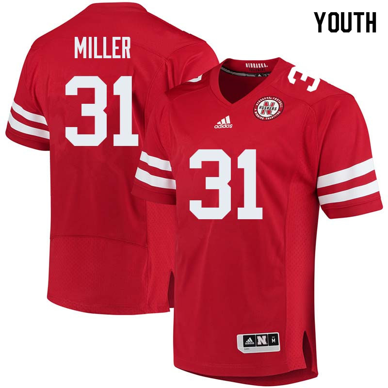 Youth #31 Collin Miller Nebraska Cornhuskers College Football Jerseys Sale-Red