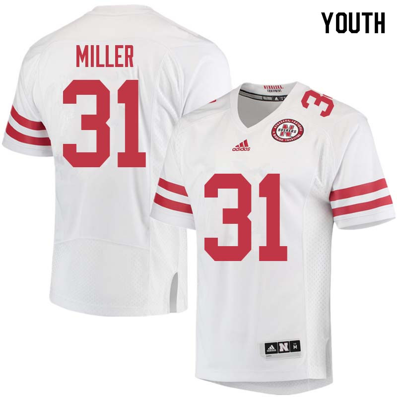 Youth #31 Collin Miller Nebraska Cornhuskers College Football Jerseys Sale-White