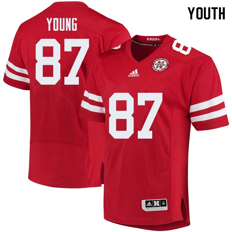 Youth #87 Conor Young Nebraska Cornhuskers College Football Jerseys Sale-Red