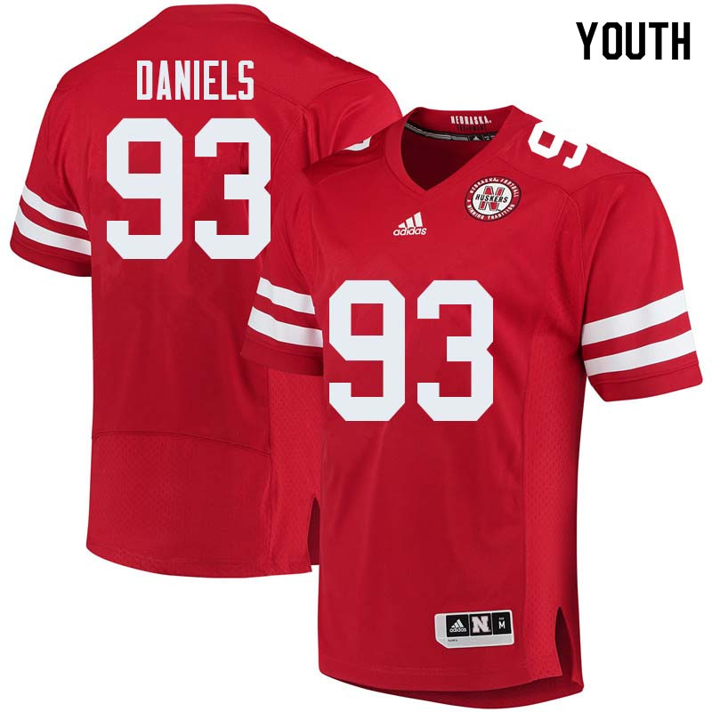 Youth #93 Damion Daniels Nebraska Cornhuskers College Football Jerseys Sale-Red
