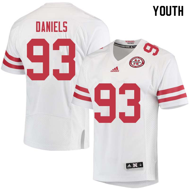 Youth #93 Damion Daniels Nebraska Cornhuskers College Football Jerseys Sale-White