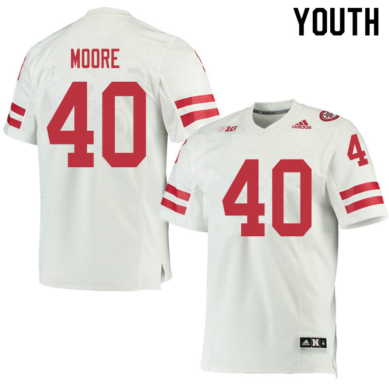 Youth #40 Darius Moore Nebraska Cornhuskers College Football Jerseys Sale-White