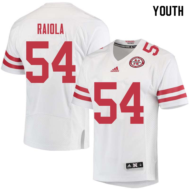 Youth #54 Dominic Raiola Nebraska Cornhuskers College Football Jerseys Sale-White