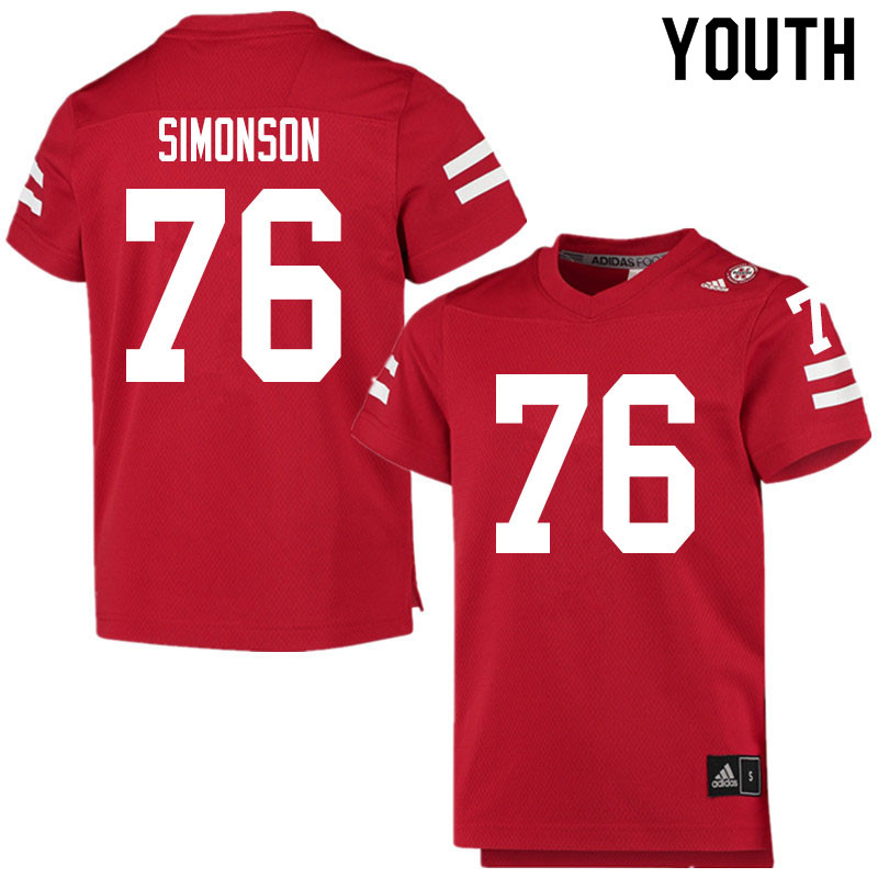Youth #76 Eli Simonson Nebraska Cornhuskers College Football Jerseys Sale-Scarlet