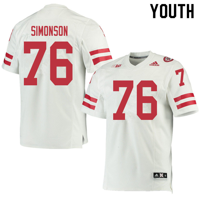 Youth #76 Eli Simonson Nebraska Cornhuskers College Football Jerseys Sale-White