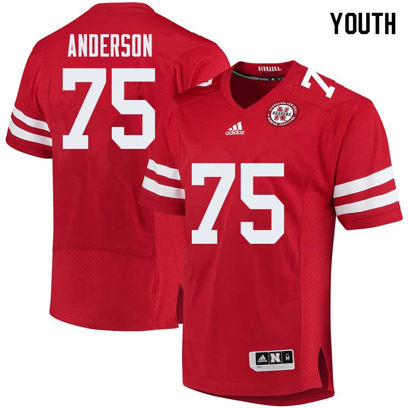 Youth #75 Fyn Anderson Nebraska Cornhuskers College Football Jerseys Sale-Red