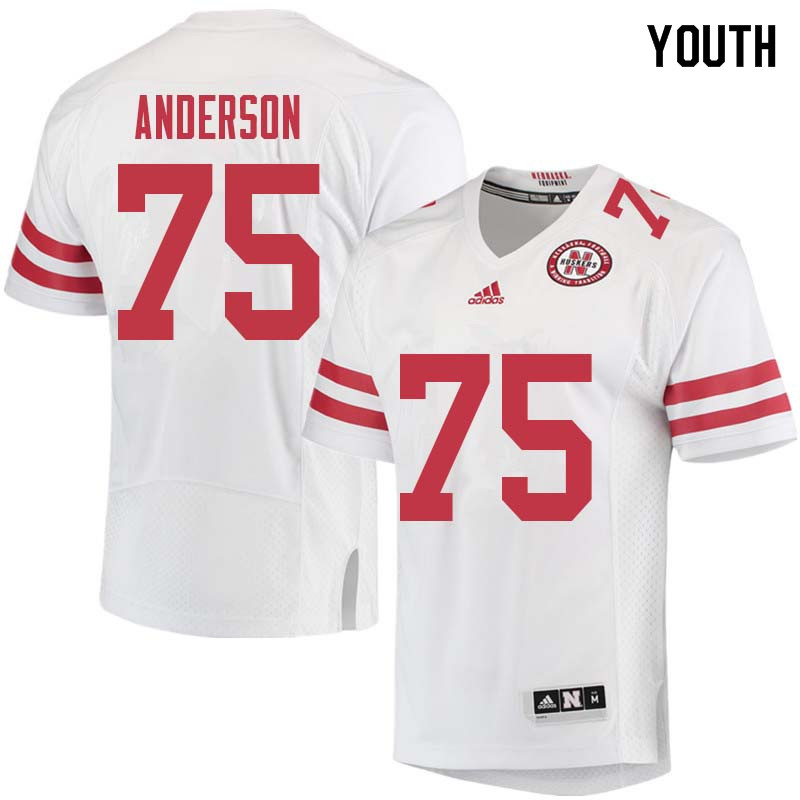 Youth #75 Fyn Anderson Nebraska Cornhuskers College Football Jerseys Sale-White