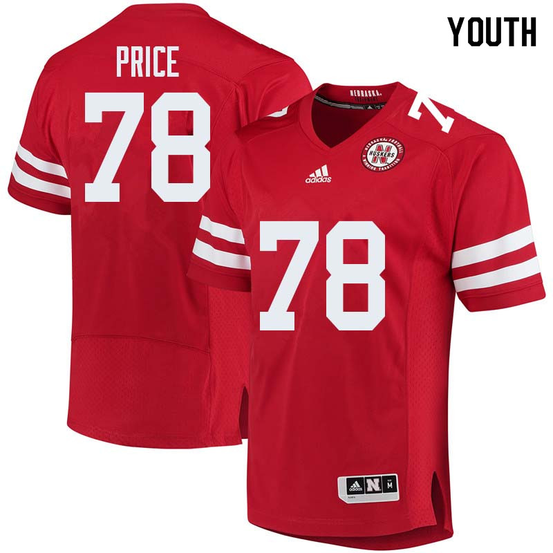 Youth #78 Givens Price Nebraska Cornhuskers College Football Jerseys Sale-Red